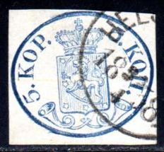 Finland - 1856 - coat of arms 5 copecks in blue, Michel 1 II