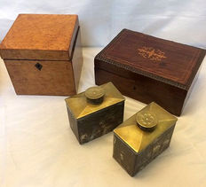 Various chests, including a Georgian tea-caddy - England - mid 19th century