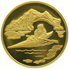 Canada - 100 Dollars 1980 'Arctic Territories Kayaker' - ½ oz. of gold