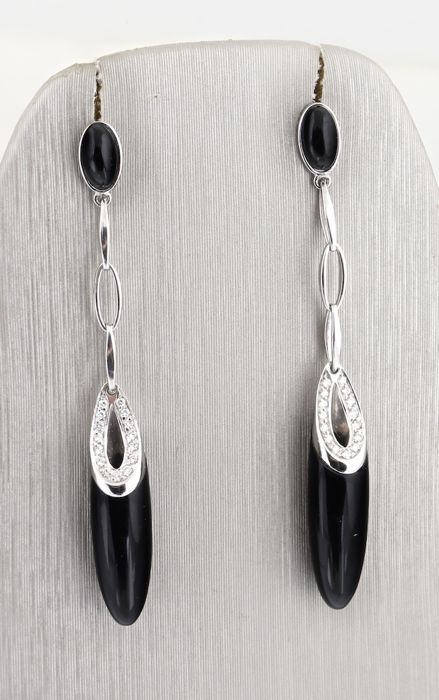 CHIMENTO 18k White Gold Onyx & Diamonds Earrings - Lenght : 6.90cm
