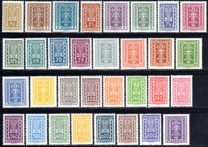 Austria - 1922-1936 postage stamps and inventors complete, Michel 360-397 and 632-637
