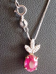 Women's necklace in 18 kt rose and white gold, with ruby and diamonds, certificate, new with box