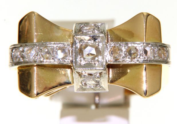 vintage golden ring with rose diamonds ca. 0,43 ct.