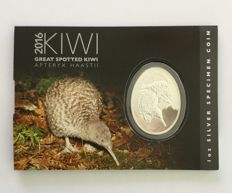 New Zealand: 1 oz of silver Kiwi 2016, colour edition. Freshly minted in blister, only 7,500 pieces