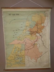 "Old school map of The Netherlands ""The year 1672"""