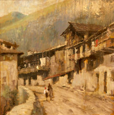 Unknown artist - signed CB - Mountain road with huts and figures