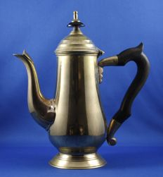 Antique silver plated coffee pot with wooden handle.