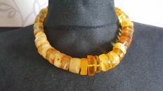 Baltic amber necklace egg yolk butterscotch colour, Length 45cm