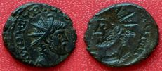 Roman Empire - Antoninianus of Tetricus 1st, AD 272. Incuse/brockage strike with double bust