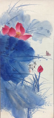 Hand-painted scroll painting of lotus - China - late 20th century