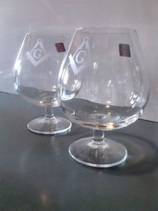 Set of 2 glasses for Brandy/Cognac with square and compass