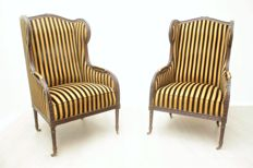 Set of large wing chairs - England, late 20th century