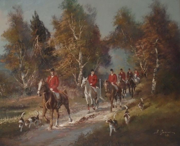 Great hunting scene - oil on canvas, English school