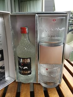 Tapio Wirkkala for IITTALA -Giftbox Finlandia Vodka of Finland. bottle and glasses are IITTALA.