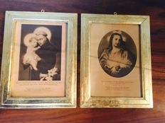 Two printed pictures depicting St Anthony of Padua and a heart of Jesus with gold leaf frame