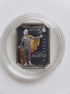 "Cook Islands, 5 dollar, 2009, ""Vatican Art, Apollo Belvedere"", with sapphire, 25 g, silver"
