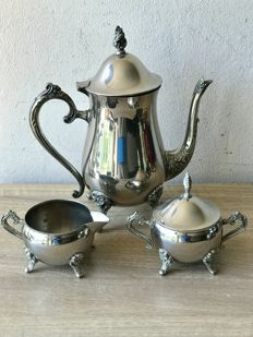 Large handmade silver plated antique 3 piece coffee service.