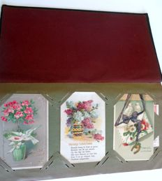 Antique album approx. 1900--412 bric-a-brac floral cards and public holidays approx. 1900/1950