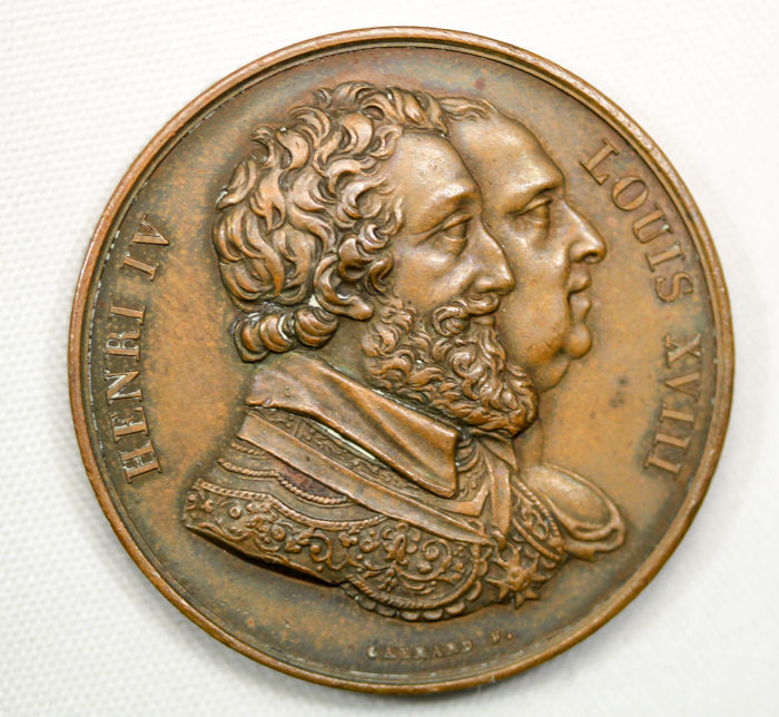 France - Medal 'Louis XVIII - Restoration of the Henri IV Statue' 1817 by Gayrard - Bronze