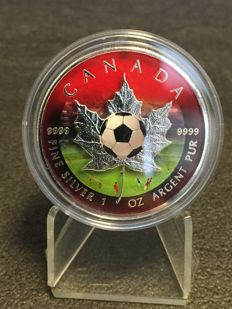 Canada - 5 Dollars 2016 'Maple Leaf - European Football Edition' with colouration - 1 oz silver