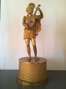 A gilt bronze statue of a minstrel - 19th century