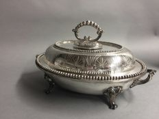Impressive antique silver plated double serving tray with removable knob on matching plate carrier, England, ca. 1880