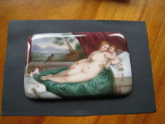 Miniature painting on porcelain - reclining scene with Cupid, angel, on sofa - Germany - early 19th century