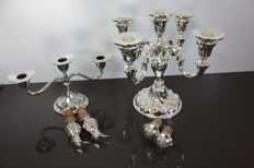 Silver plated candlesticks/wine stop and cup holders/second half of the 20th century.
