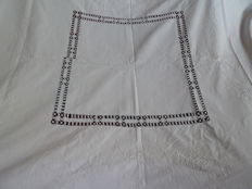 Old tablecloth - white cotton with large embroidery pattern - handmade