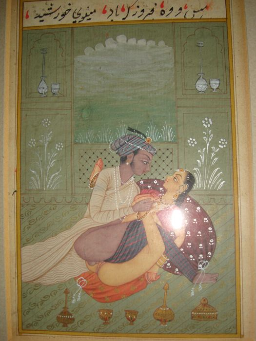 A lot with 2 miniatures with text on the Kamasutra - India - early 20th century