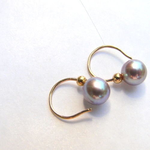 Yellow   gold  14 kt earrings,with Cultivated  pearls, colour steel, diameter 6 mm, cllas AAA