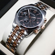 Bulova men's chronograph with two-tone case and strap in 18 kt gold-plated steel