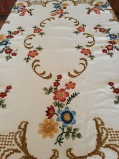 Hand embroidered tablecloth with rose satin stitch and cross stitch - 1970s