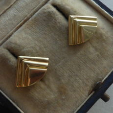 Gold earrings in 14 kt - Measurements 1.6 x 1.2 cm