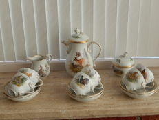 Extremely rare Meissen hunting scene mocha set for six people