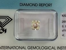 Diamond cut cornered rectangular modified brilliant 1.10ct. K VVS 2 with IGI certificate