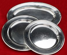 1 large dish & 2 round dishes, silver plated metal, art deco, Christofle