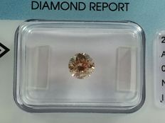 Brilliant cut diamond 0.80ct.  Natural FANCY brown I1 with IGI certificate
