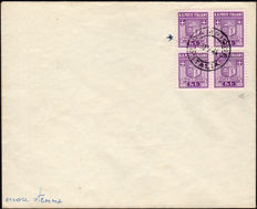Campione d'Italia, 1944 - Emblems - 1st issue - Block of four with cancellation - FDC.