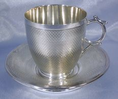 "Antique silver ArtNouveau saucer and cup, France 2nd half 19th century, master stamp ""V.N"" in diamond with 2 stars"