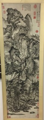 A Chinese Ming and Qing style landscape scroll - China - Late 20th century