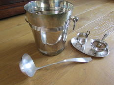 Wine cooler, soup ladle, creamer set with sugar spoon.