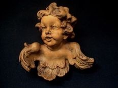 Putto / angel sculpture - beautifully carved - cedar wood - France - ca. 1900