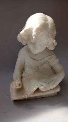 Beautifully carved marble bust of a girl reading - possibly Italy - circa 1900
