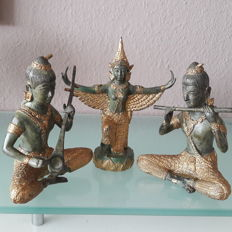 3 decorative, partially gold-plated and bronze figures, temple musicians and dancers - Thailand - 1970s
