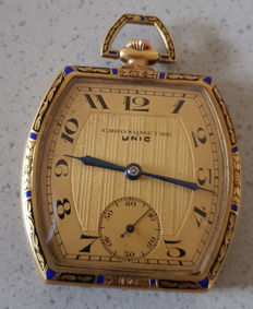 11. Unic - chronometer - enamel tailcoat watch - circa 1920