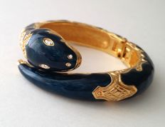 Vintage Joan Rivers Gold Plated Etruscan-Retro Snake Bracelet