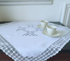 Tea tablecloth in ancient linen  - Sicily, Italy - Early 1900s