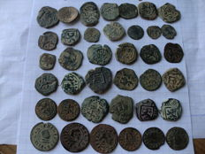 Spain - lot of 38 Spanish coins from the reign of the house of Asturia (Felipe II, Felipe III, Felipe IV, Carlos II) there are some from the medieval age.