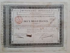 France / Germany - Napoleon - Societe de Westphalie - Action de 2000 Francs - 1811 - Paris